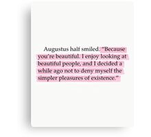 The Fault in Our Stars Pink Beautiful Quote Canvas Print