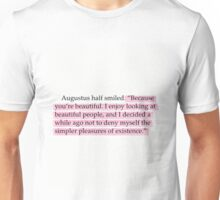 The Fault in Our Stars Pink Beautiful Quote Unisex T-Shirt