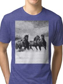 Horses Magic B&W Tri-blend T-Shirt