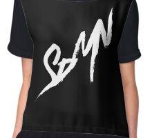 SDMN Brush Stroke Print (Black) Chiffon Top