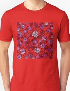 Climbing Roses red and pink mirror pattern  Unisex T-Shirt