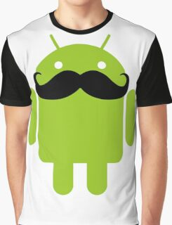 Mustache Android Robot Graphic T-Shirt