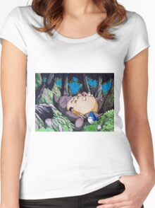 Nap Time with Totoro Women's Fitted Scoop T-Shirt