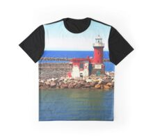 Red Lighthouse Graphic T-Shirt