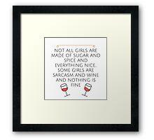 Sarcasm and Wine Framed Print