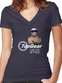 Top Gear Stig Women's Fitted V-Neck T-Shirt