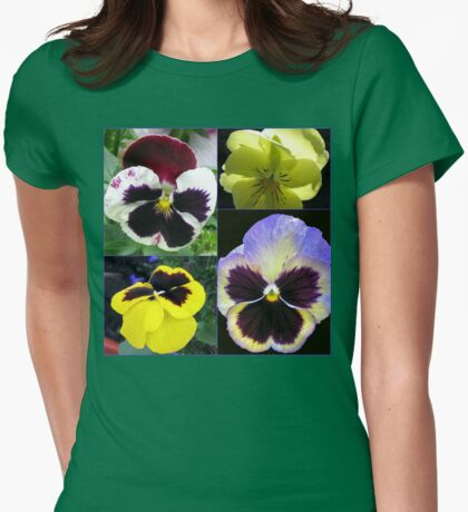 Cute Pansy Faces Collage Womens Fitted T-Shirt