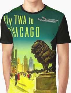 """TWA AIRLINES"" Fly to Chicago Advertising Print Graphic T-Shirt"