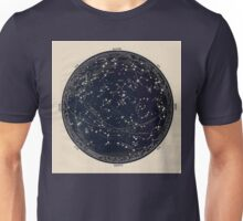Antique Map of the Night Sky, 19th century astronomy Unisex T-Shirt