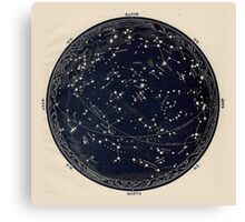 Antique Map of the Night Sky, 19th century astronomy Canvas Print