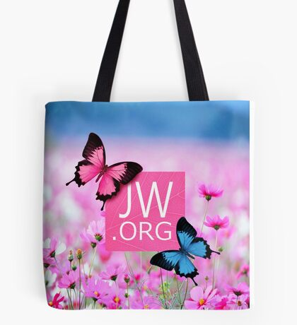 JW.ORG (Blue and Pink Butterflies) Tote Bag