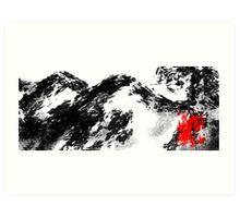 Japanese snow mountain scene Art Print