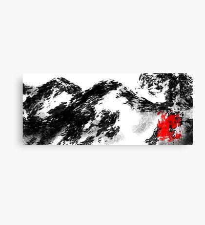 Japanese snow mountain scene Canvas Print