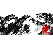 Japanese snow mountain scene Photographic Print