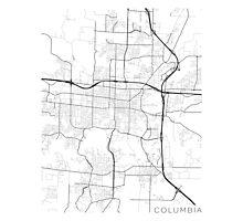 Columbia Map, USA - Black and White Photographic Print