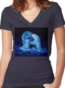 Blue Prince Charming, the Polar Bear  Women's Fitted V-Neck T-Shirt