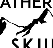 I'D RATHER BE Skiing Mountain Mountains SKIING SKI Skis Silhouette ID Snowboard Snowboarding DECAL STICKER Sticker