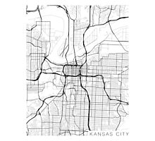 Kansas City Map, USA - Black and White Photographic Print