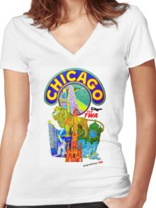 """TWA AIRLINES"" Fly to Chicago Advertising Print Women's Fitted V-Neck T-Shirt"