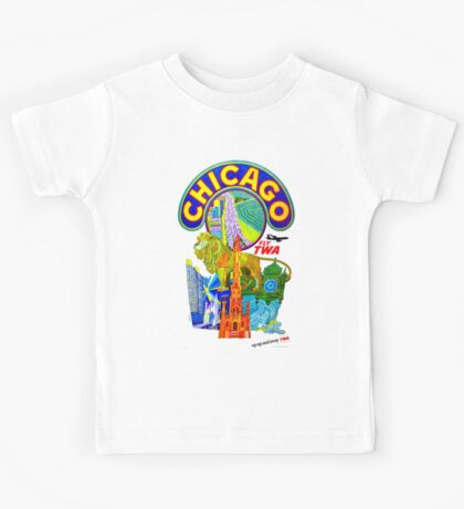 """""""TWA AIRLINES"""" Fly to Chicago Advertising Print Kids Tee"""