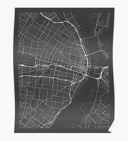 St Louis Map, USA - Gray  Poster