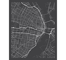 St Louis Map, USA - Gray  Photographic Print