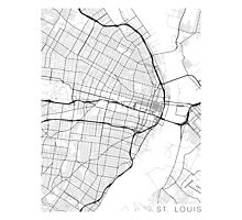 St Louis Map, USA - Black and White Photographic Print
