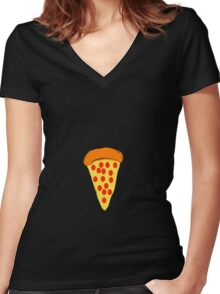 Bitty Pizza Women's Fitted V-Neck T-Shirt