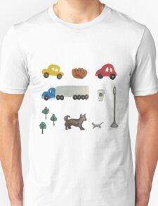 City Life with Cars, Trucks & Urban Hand-Painted Watercolor Motifs Unisex T-Shirt