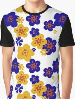Blue & Yellow Floral Graphic T-Shirt