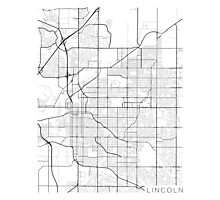 Lincoln Map, USA - Black and White Photographic Print