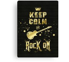 Keep Calm and Rock On Gold Electric Guitar Typography Canvas Print
