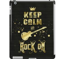 Keep Calm and Rock On Gold Electric Guitar Typography iPad Case/Skin