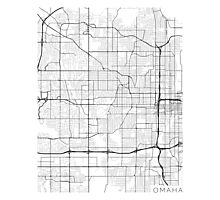 Omaha Map, USA - Black and White Photographic Print
