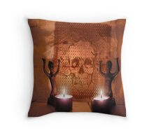 Ancient tribal ceremony in a cave. Throw Pillow