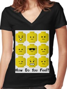 'How Do You Feel?' by Customize My Minifig  Women's Fitted V-Neck T-Shirt