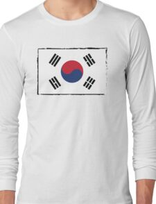 South Korea Flag Brush Stroke Long Sleeve T-Shirt