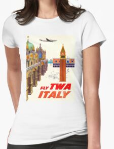 """TWA AIRLINES"" Fly to Italy Advertising Print Womens Fitted T-Shirt"