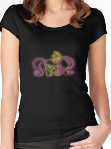 Fluttershy Neon Glow (No Angel) Nights Women's Fitted Scoop T-Shirt