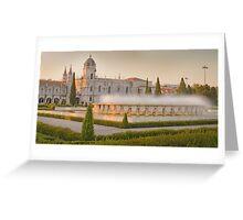 Praça do Império. Mosteiro dos Jerónimos. sunset Greeting Card
