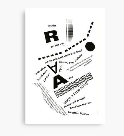 Rain Poem Typography 2 Canvas Print