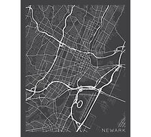 Newark Map, USA - Gray Photographic Print