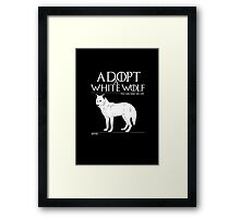 Adopt a white wolf. Framed Print
