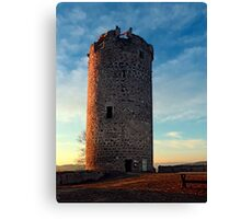 The tower of Waxenberg castle in the sunset | architectural photography Canvas Print