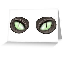 Scary Green Glowing Cat Eyes Halloween Costume Greeting Card
