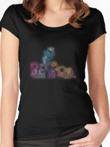 Pony Friends Neon Glow Lights Women's Fitted Scoop T-Shirt