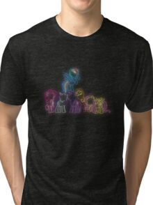 Pony Friends Neon Glow Lights Tri-blend T-Shirt