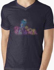 Pony Friends Neon Glow Lights Mens V-Neck T-Shirt