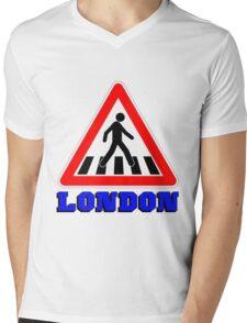 LONDON-ZEBRA CROSSING Mens V-Neck T-Shirt