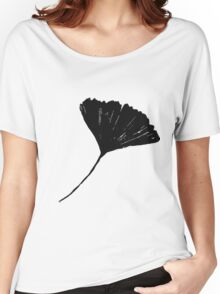 Lino cut printed pattern, nature inspired, handmade, black and white Women's Relaxed Fit T-Shirt